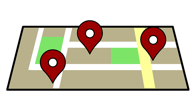 Illustration of a map with red dots.