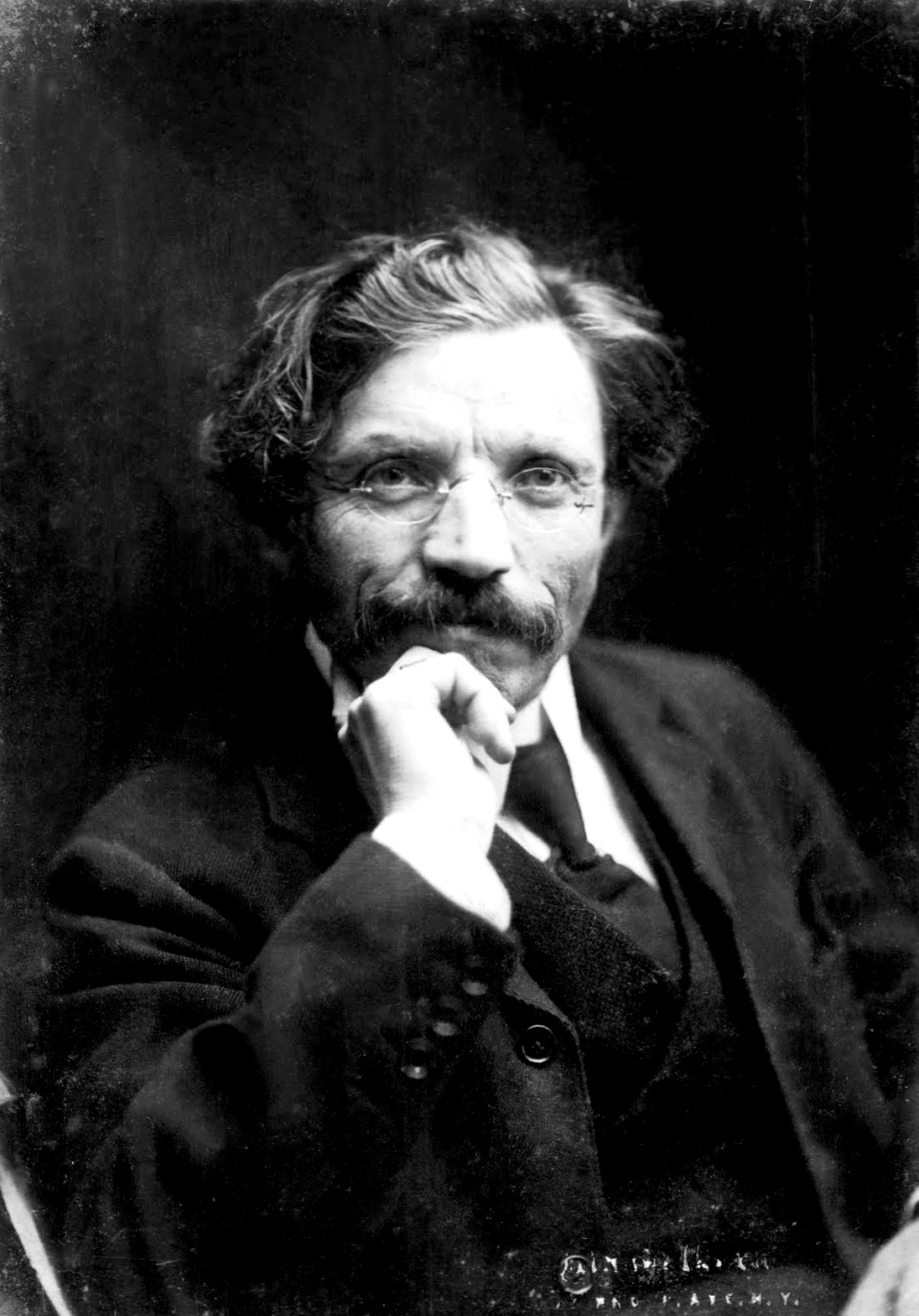 Portrait of the famous Jewish writer Sholem Aleichem in New York.